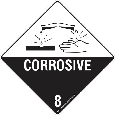 Corrosive 8 Safety Signs & Stickers & Placards