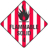 Flammable Solid 4 Safety Signs & Stickers & Placards