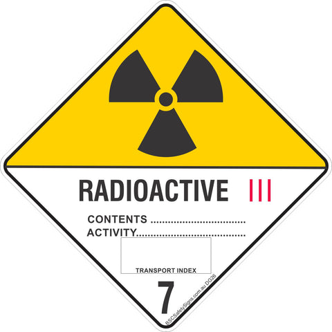 Radioactive 7 Category III Safety Signs & Stickers & Placards