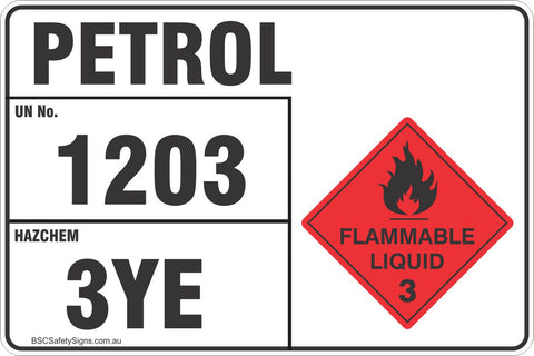 Petrol UN No. 1203 Hazcehm 3Ye Flammable Liquid 3 Safety Signs & Stickers