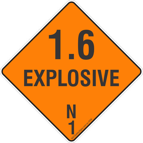 1.6 Explosive N 1 Safety Signs, Stickers & Placards