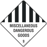 Miscellaneous Dangerous Goods 9 Safety Signs & Stickers & Placards