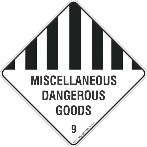 Miscellaneous Dangerous Goods 9 Safety Signs, Stickers