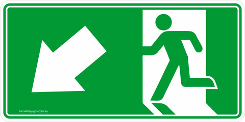 Emergency Exit Left Arrow Down Safety Signs and Stickers