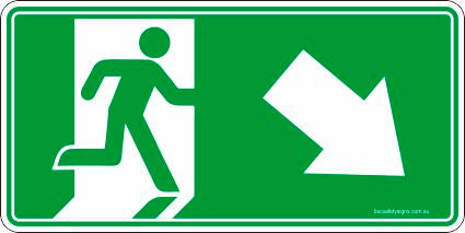 Emergency Exit Right Arrow Down Safety Signs and Stickers
