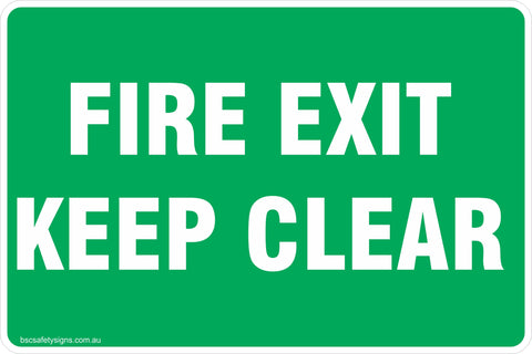 Information Fire Exit Keep Clear Safety Signs and Stickers