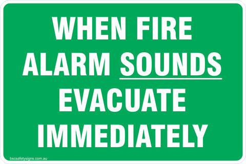 Information When Alarm Sounds Evacuate Immediately Safety Signs and Stickers