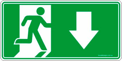 Emergency Exit Down Arrow Safety Signs and Stickers