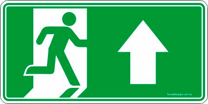 Emergency Exit Up Arrow Safety Signs and Stickers