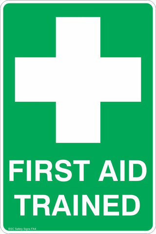 Portrait First Aid Trained Safety Sign