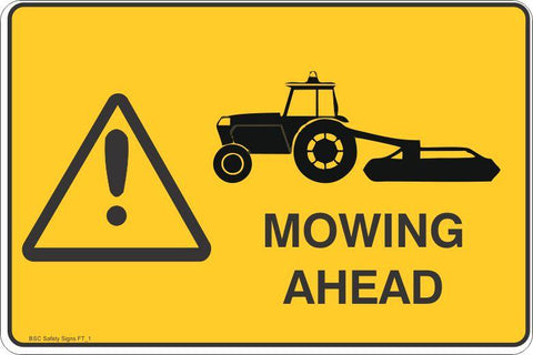 Mowing Ahead Safety Signs and Stickers