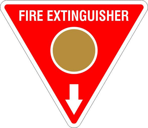 This Fire Extinguisher Gold Circle  Safety Signs and Stickers