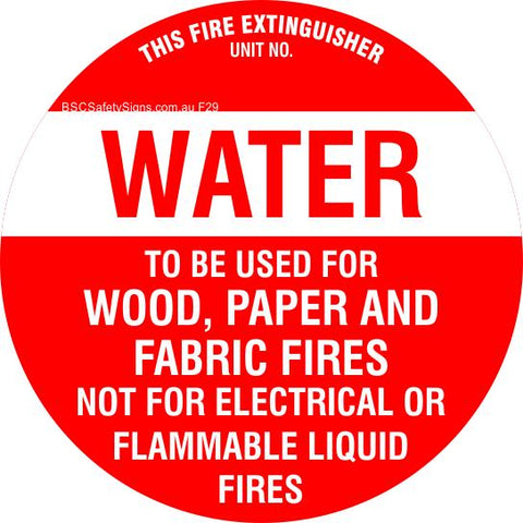 This Fire Extinguisher Water - Disc Fire Maker Safety Signs and Stickers