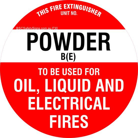 This Fire Extinguisher Power B (E)  - Disc Fire Maker Safety Signs and Stickers