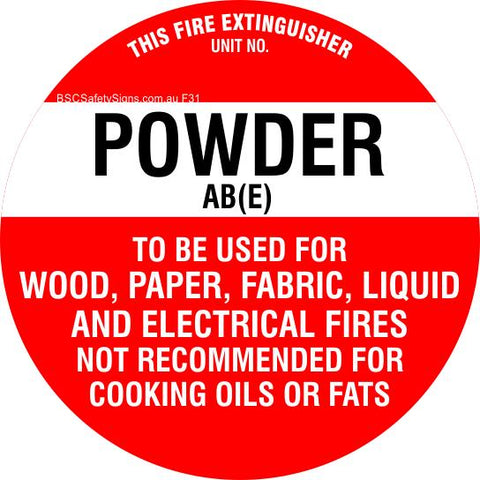 This Fire Extinguisher Power AB (E)  - Disc Fire Maker Safety Signs and Stickers