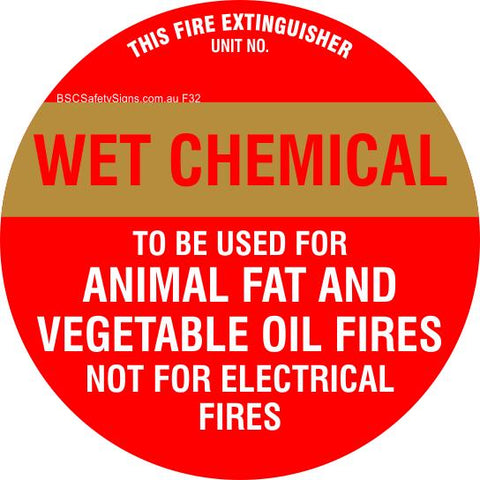 This Fire Extinguisher Wet Chemicals - Disc Fire Maker Safety Signs and Stickers