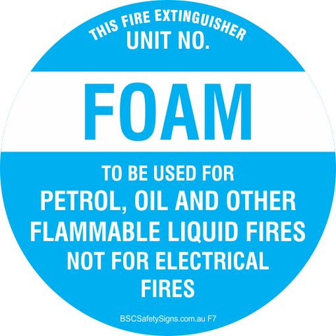 This Fire Extinguisher Foam - Disc Fire Maker Safety Signs and Stickers