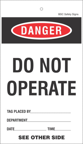 [Bulk Pack of 50] DO NOT OPERATE Lockout Tag