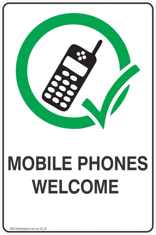 Information Mobile Phones Welcomed Safety Signs and Stickers