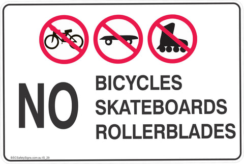 No Bicycles,Skateboards,Rollerblades Safety Signs and Stickers