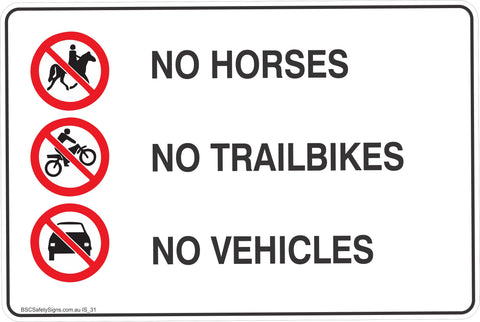 Information No Hourses,Trailbikes,Vehicles Safety Signs and Stickers