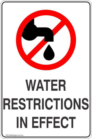 Information Water Restrictions In Effect  Safety Signs and Stickers