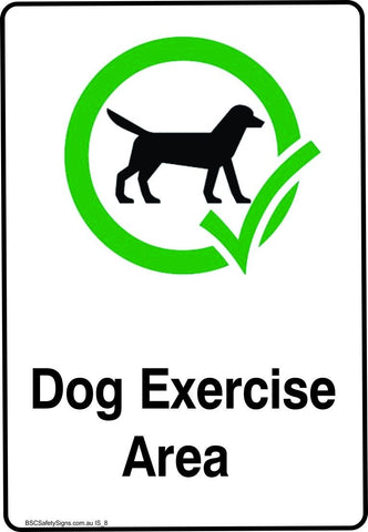 Information Dog Exercise Area Safety Signs and Stickers
