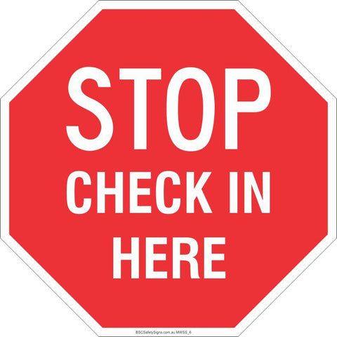 Stop! Check in here Safety Signs and Stickers