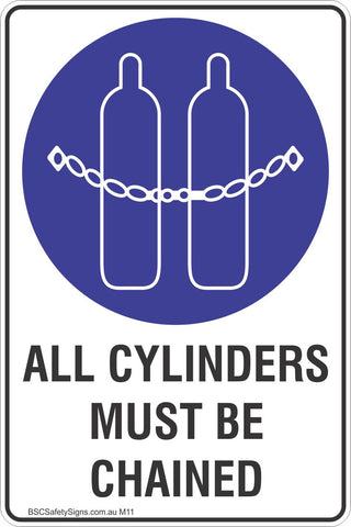 All Cylinders Must Be Chained Safety Sign