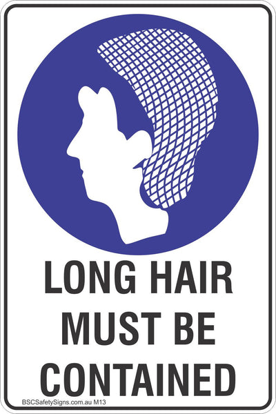 Long Hair Must Be Contained Safety Sign Mandatory
