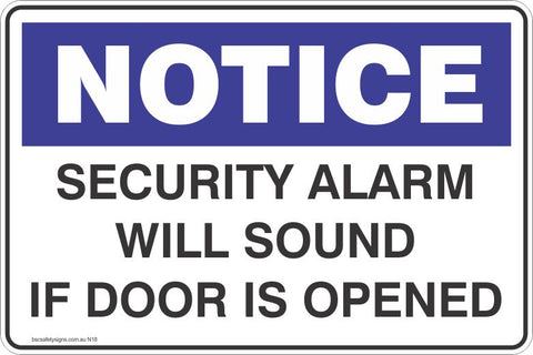 Notice Security Alarm Will Sound If Door Is Opened Safety Signs and Stickers