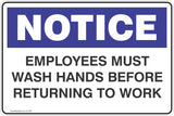 Notice Employees Must Wash Hands Before Returning To Work Safety Signs and Stickers