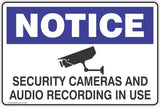 Notice Security Cameras And Audio Recording In Use Safety Signs and Stickers