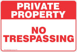 Private Property No Trespassing Red Theme Safety Sign