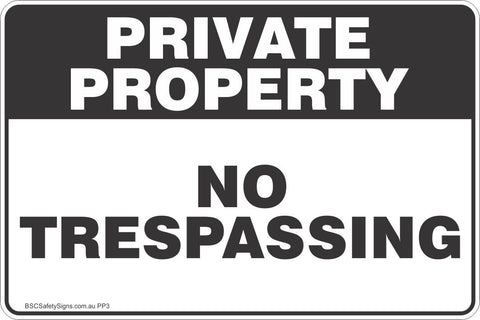 Private Property No Trespassing Black Theme Safety Sign