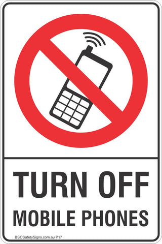Turn Off Mobile Phones Safety Sign