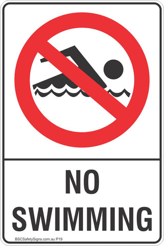 No Swimming Safety Sign