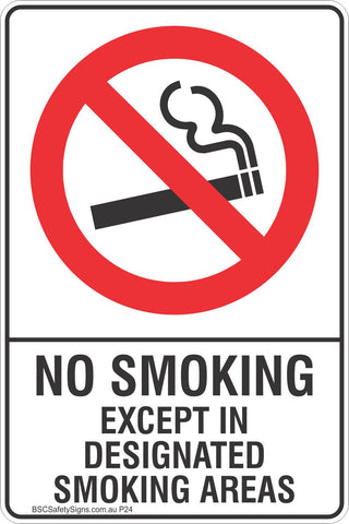 No Smoking Except In Designated Smoking Areas Safety Sign