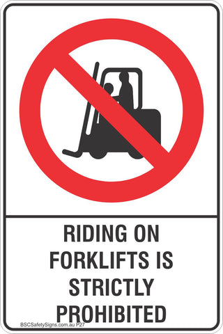 Riding On Forklifts Is Strictly Prohibited Safety Sign