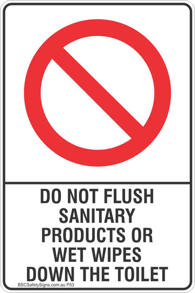 Do not flush sanitary products or wet wipes down the toilet safety sign prohibited stickers for Do not flush signs for bathroom