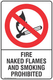 Fire Naked Flames And Smoking Prohibited Safety Signs & Stickers