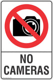 No Cameras Safety Sign