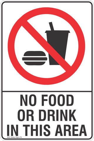 No Food Or Drink In This Area Safety Sign