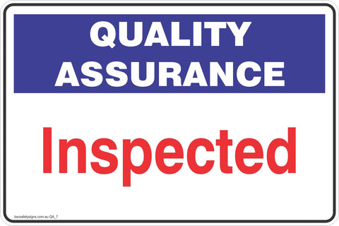 Quality Assurance Inspection  Safety Signs and Stickers