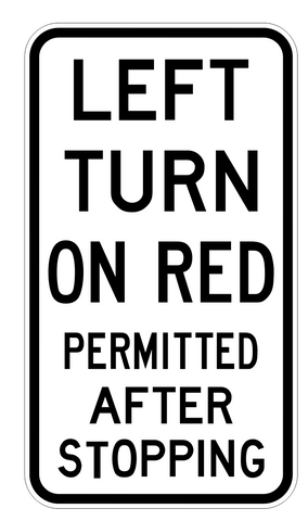 LEFT TURN ON RED PERMITTED AFTER STOPPING R2-20