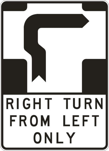 RIGHT TURN FROM LEFT ONLY FOR BICYCLES ONLY R2-21