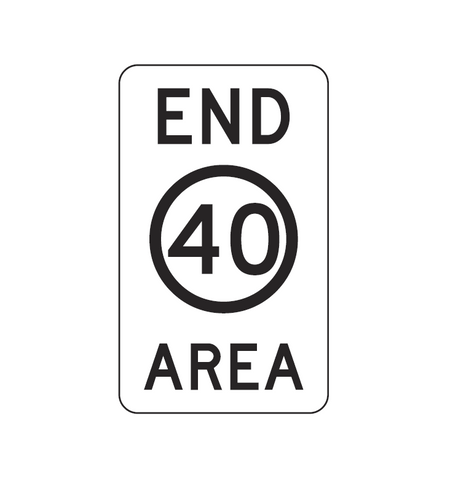 END SPEED LIMIT (symbolic) 40 AREA R4-11 Sign