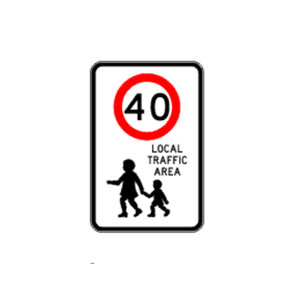 LOCAL TRAFFIC AREA (40) 600 x 900 Sign R4-240