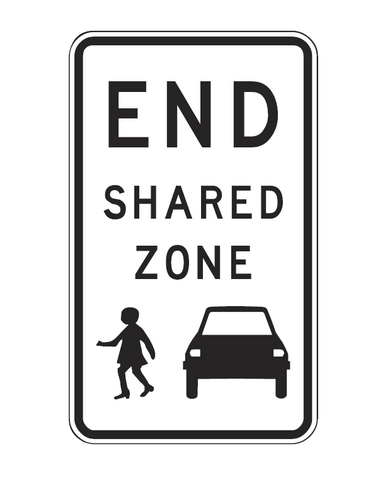 END SHARED ZONE 450 x 750 R4-5 Sign