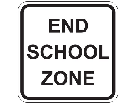 END SCHOOL ZONE R4-9 Sign